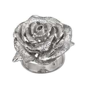 Italian Sterling Silver Fancy White Rhodium Flower Ring