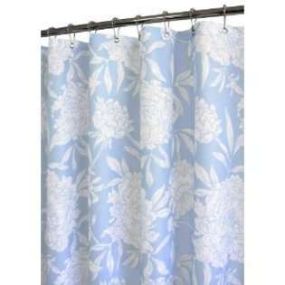 Smith Peony Watershed Shower Curtain, Sky Blue/White