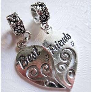 Best Friends, Split Heart, European Style, Sterling Silver