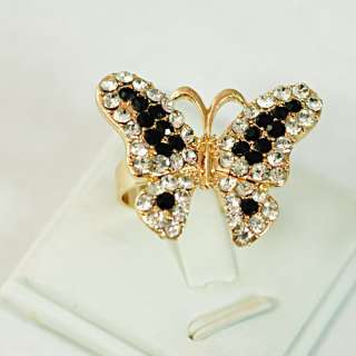 Ladys Butterfly 18K GP Gold Plated Gemstone Zirconia CZ Adjustable
