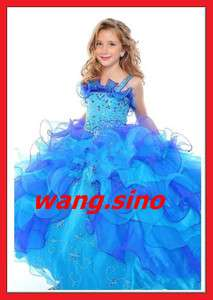Spaghetti Flower Girl Pageant Ball Gowns Wedding Dress Birthday Party