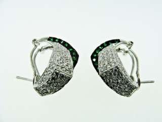 18K White Gold Tsavorite Green Garnet Diamond Earrings