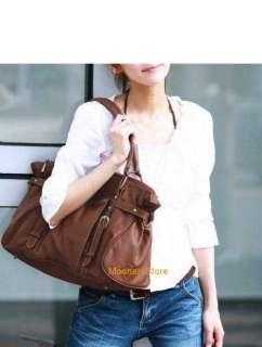 Fashion Women PU Leather Handbag Shoulder Motorcycle Bag Large Dark