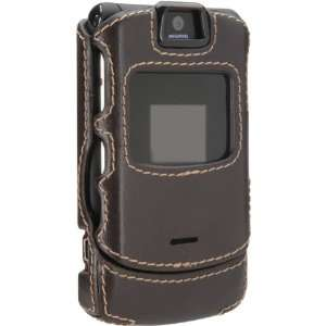 Superior Chocolate Brown Leather Shell for Motorola RAZR Electronics