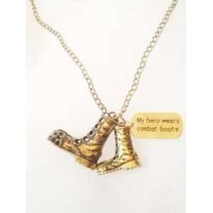 by Stacy My Hero Wears Combat Boots Necklace (Bronze/Gold) Jewelry