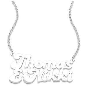 Sterling Silver Couples Name Pendant   Personalized Jewelry Jewelry