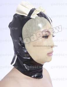 100% Latex Gummi Rubber Maid Nurse Mask Hood 0.8mm Ruffle Trim Catsuit