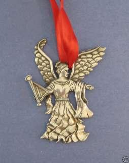 Silver Metal Angel Christmas Ornament Wings Harp SWEET