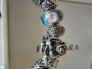 PANDORA STERLING SILVER BRACELET LUX LOVE MY FAMILY 19 CHARMS BEADS