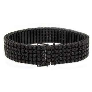 Mens Black Diamond Link Bracelet Brilliant Round Cut 10KT Gold 54.58