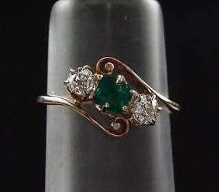 EXQUISITE ANTIQUE VICTORIAN OLD EUROPEAN DIAMOND NATURAL EMERALD RING