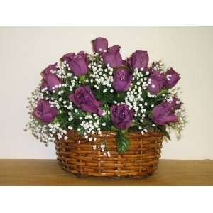 Handcrafted Mauve Roses Floral Arrangement in Round Basket with Handle