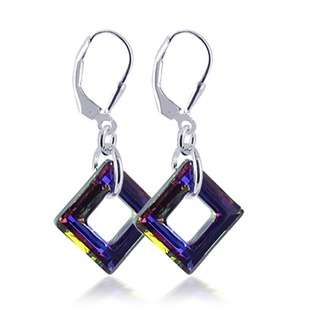 Crystal Purple Drop Dangle Earrings  Jewelry Sterling Silver Earrings