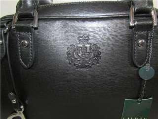 New Ralph Lauren Newbury Black Leather Satchel Bag Purse Tote Handbag