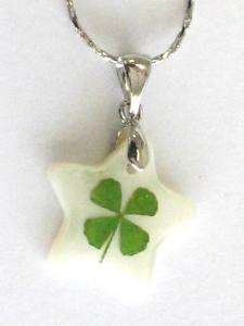 Real Four Leaf Clover   Shamrock Necklace