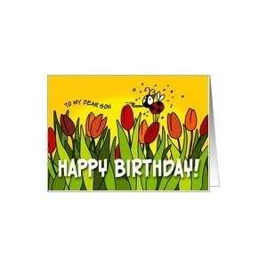 Happy Birthday tulips   son Card: Toys & Games
