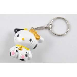 HELLO KITTY KEY CHAIN FIGURES  GOLD BOW IN COW COSTUME