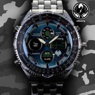 Digital Quartz Sports Mens Date Stainless Steel Wrist Watch