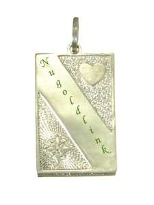 Sterling Silver Name Tag w/ Heart Charm Pendant SC201