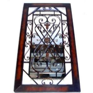 Wrought Iron Wall Mirror Scroll Frame Hanging Plaque