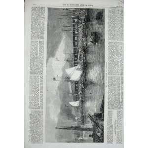 1867 New Fish Market Yarmouth Boats Sea Buildings Art