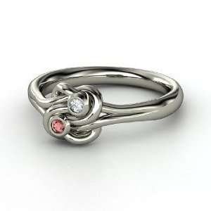 Knot Ring, Sterling Silver Ring with Red Garnet & Diamond Jewelry