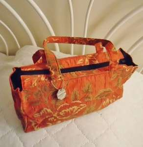 NEW Orange Tapestry Designer Satchel Hand Bag Purse ISABEL