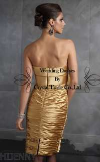 Brilliant Gold Short Wedding Bridal Gown Cocktail Evening Girl Party