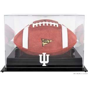 Indiana Hoosiers Black Base Logo Football Display Case with Mirror