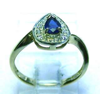 Natural Blue Sapphire Pear & Diamonds Solid Y/Gold Ring