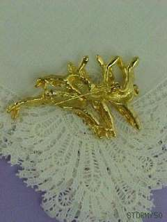 Signed RS Faux Pearl Trio Reindeer Christmas Pin Brooch