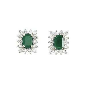 14K Yellow Gold Emerald Cut Emerald and Diamond Earrings