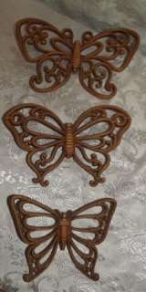 Vintage 1978 Homco Butterflies Wall Decor Light Brown Set of 3