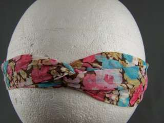 Vintage floral print long tie wrap headband head scarf