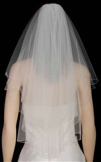 2T White Wedding Bridal Veil Silver Bead Drops s36s