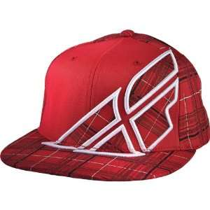 Fly Racing Plaid F Wing Mens Flexfit Sports Wear Hat   Red / Large/X