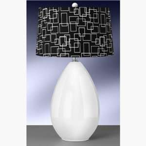 Modern 30 White Ceramic Egg Table Lamp with Hardback Drum