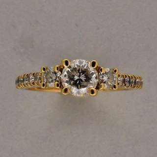 DESIGNER JST THREE STONE ROUND DIAMOND 18K YELLOW GOLD RING .73CTS