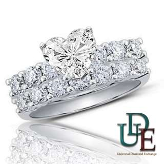 Diamond Bridal Wedding Ring Set 2.06ct total Heart Cut 14K White Gold