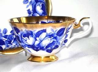 Royal Albert COBALT BLUE ROSES TREASURE CHEST SERIES Tea Cup and