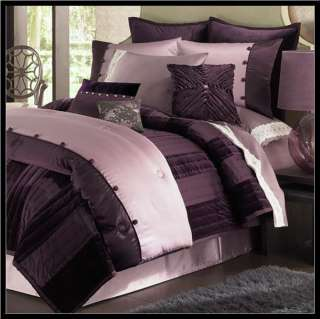 Glam COVERLET Full   Queen PURPLE Velvet & Satin Finish *NEW*