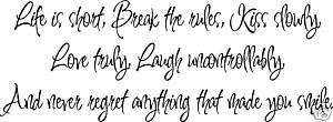 Kiss Laugh Love Smile, Wall Art Words, Vinyl lettering