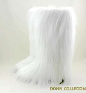 NEW WOMEN ESKIMO FAUX LONG FUR FURRY YETI BOOTS WHITE VINTAGE WARM