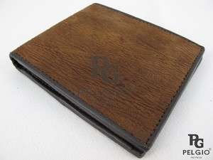PELGIO New Genuine Shark Skin Leather Bifold Mens Wallet Brown Free