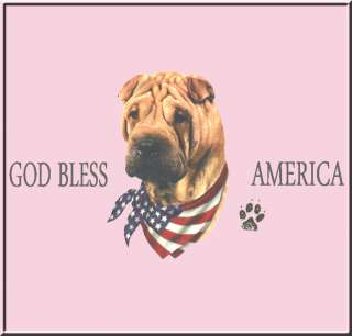 God Bless America Shar Pei US Flag Shirt S 2X,3X,4X,5X