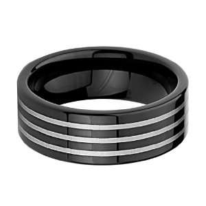8mm Laser Strip Black Mens Cobalt Free Tungsten Carbide Comfort fit