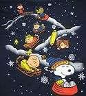 Peanuts Gang Snoopy Sled Sledding Navy Blue Shirt Winter Snow Flakes
