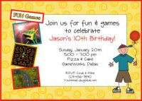 ARCADE GAMES Birthday Party Personalized Invitations