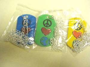 Peace, Love And Earth Dog Tag Necklaces ( 1 set of 3 )