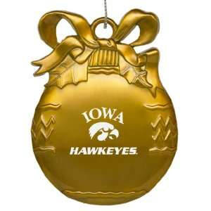 University of Iowa   Pewter Christmas Tree Ornament   Gold
